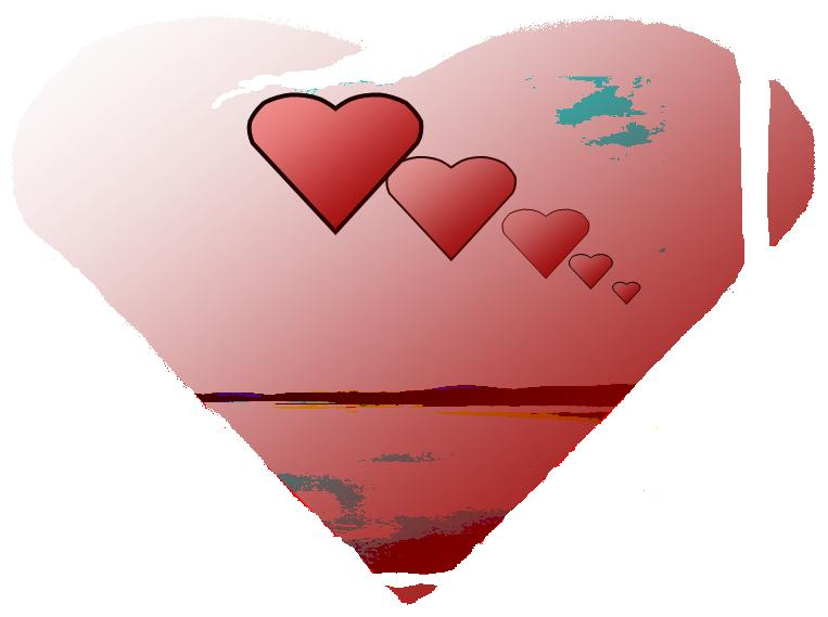 Love Comes with many hearts flying toward you over a river all within one big heart